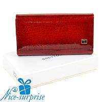 Женский лаковый кожаный кошелёк Bretton W46 red (серия Lizard), фото 1