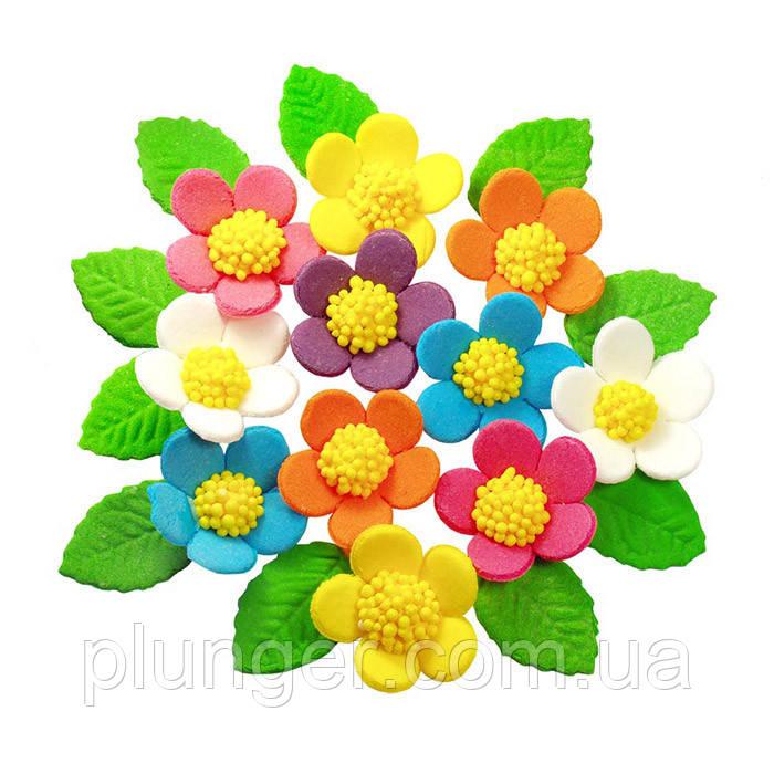 Цукрова прикраса для торта, тістечок Весняні квіти