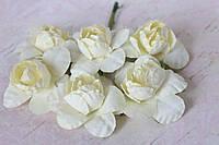 Бумажныецветочки камелии 4 см 6 шт/уп. кремового цвета для скрапбукинга, фото 1