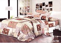 """Комплект постельного белья """"Beige"""" цветы в квадратах, полуторный из ранфорса"""