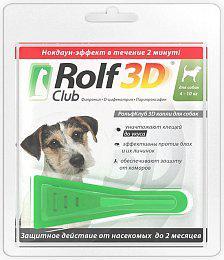 РОЛЬФ КЛУБ ROLF CLUB 3D капли от блох и клещей для собак весом 4 - 10 кг, 1 пипетка