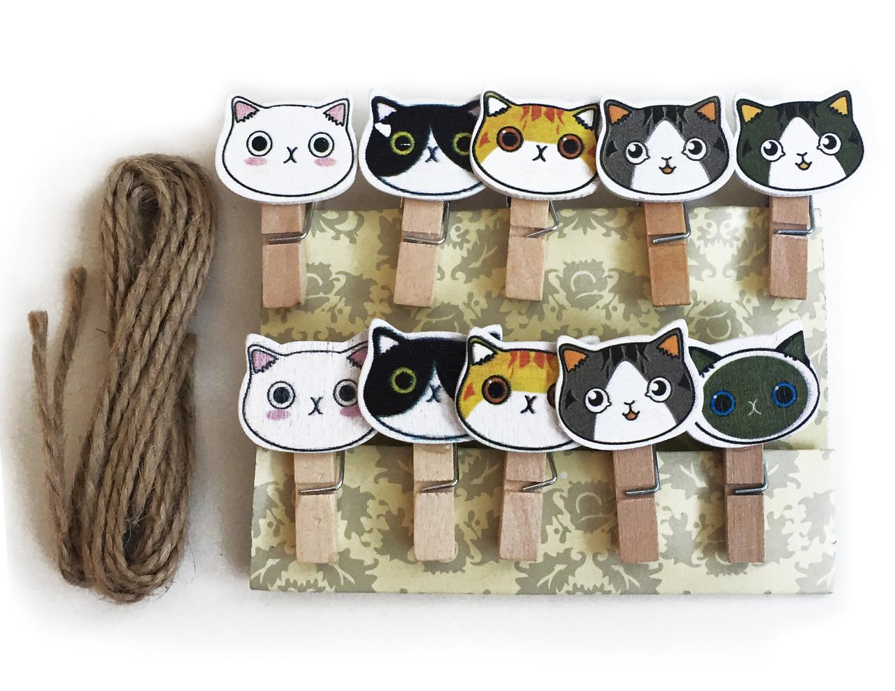 """Мини прищепки для декора """"Коты разноцветные (голова)"""" 3.5 см  (10 штук)"""