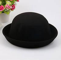 Шляпа женская фетровая котелок черная, фото 1