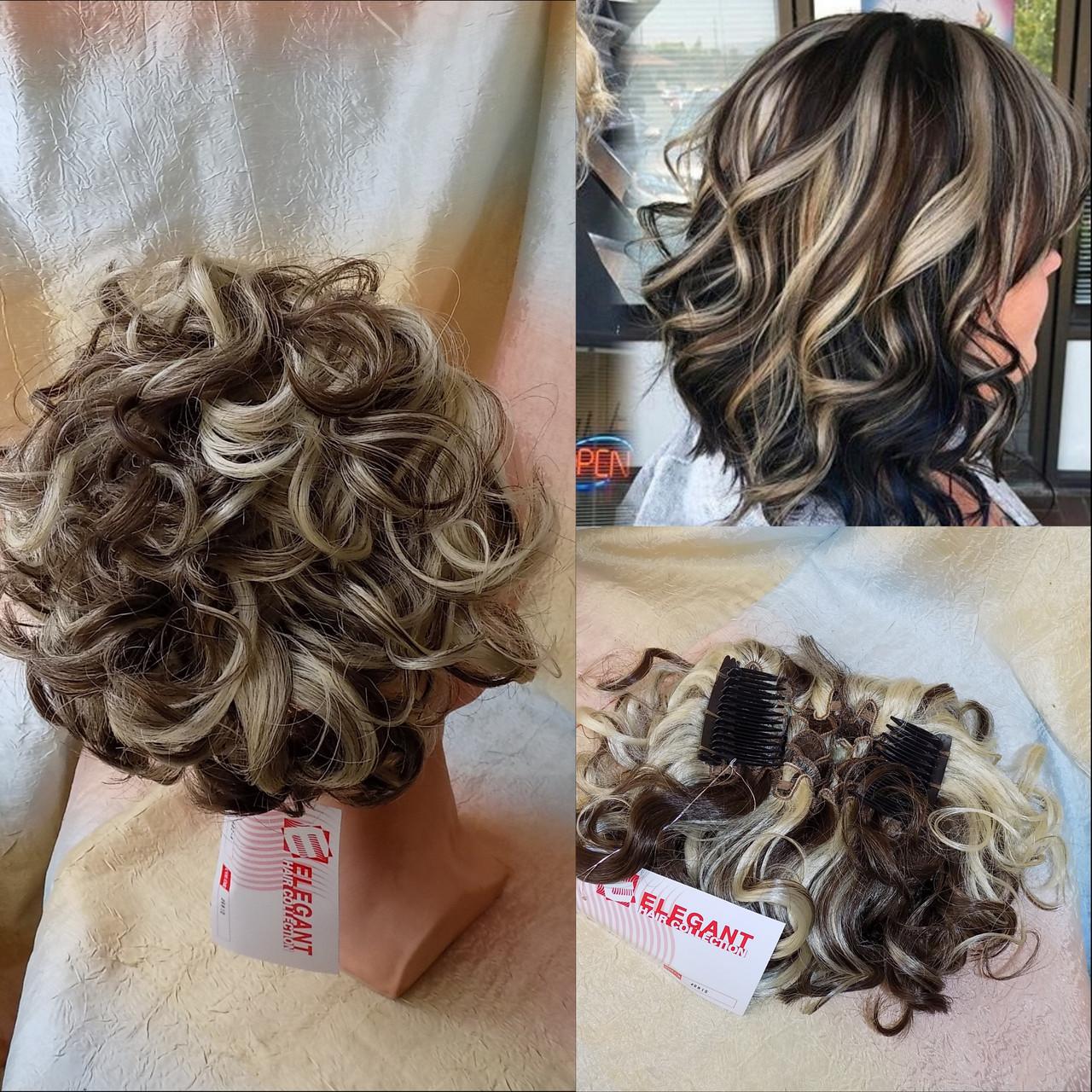 Шиньон-накладка на гребешках удлиненный русый с блондом прядями 902А-RH10