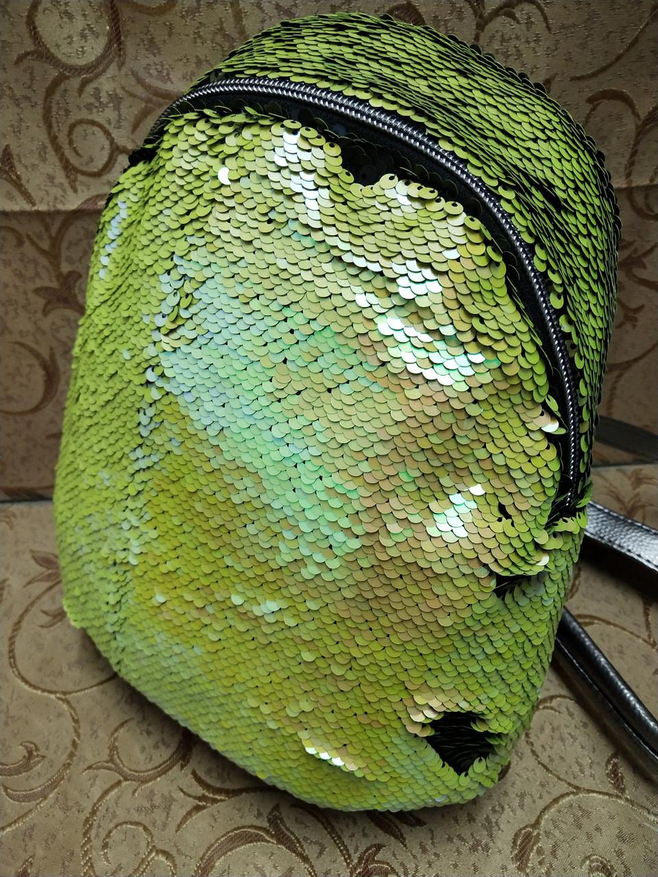 Женский рюкзак-сумка искусств кожа качество с двойная пайетка городской спортивный стильный опт