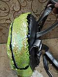 Женский рюкзак-сумка искусств кожа качество с двойная пайетка городской спортивный стильный опт, фото 3