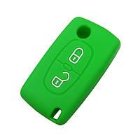 Чохол (силіконовий) для выкидного ключа Citroen 2 кнопки (зелений)