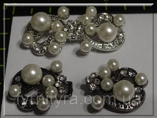 Застежка декоративная A-1321 silver, black