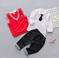 Комплект для хлопчика штани, сорочка жилетка 90