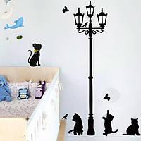 """Интерьерные виниловые наклейки на стену, окна, двери """"4 Кота возле фонарного столба"""" 80*80см (лист 30*60см)"""