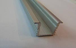 Алюминиевый врезной led-профиль ЛПВ-12 Б/А +линза рассеиватель
