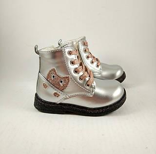 Ботинки для девочек, серебро, детская обувь демесезонная