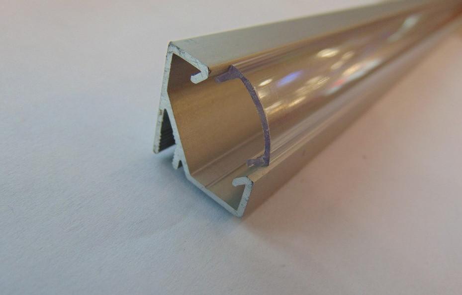 Угловой алюминиевый led профиль ЛПУ-17 + линза рассеиватель (ГОСТ)