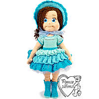 Лялька в'язана гачком в блакитному вбранні, 35см
