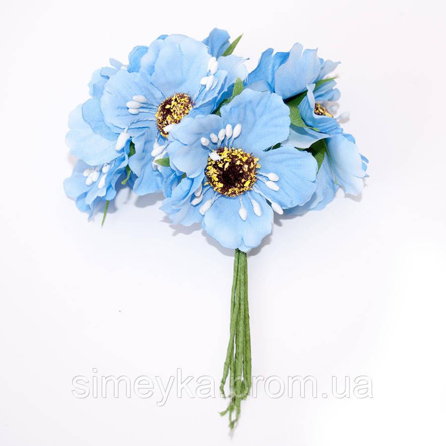 Мак голубой для цветочного обруча, диаметр цветка 40 мм, 1 шт.