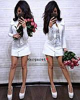 Джинсовый юбочный женский костюм с пиджаком 9KO762, фото 1