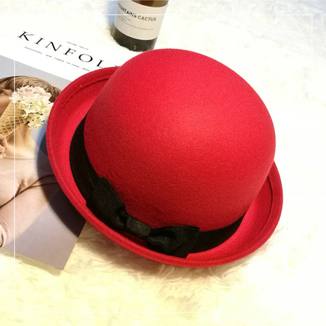 Шляпа женская фетровая котелок с бантиком красная