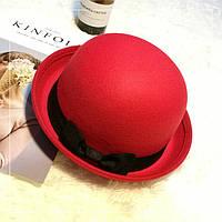 Шляпа женская фетровая котелок с бантиком красная, фото 1