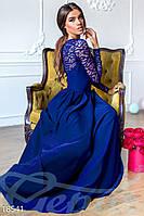 Роскошное вечернее платье в пол с кружевом синее