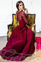 Роскошное вечернее платье в пол с кружевом марсала