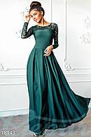 Роскошное вечернее платье в пол с кружевом изумрудное