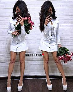 Джинсовый юбочный женский костюм с пиджаком 9ks762