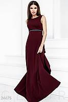 Длинное платье ампир с длинной спиной марсала
