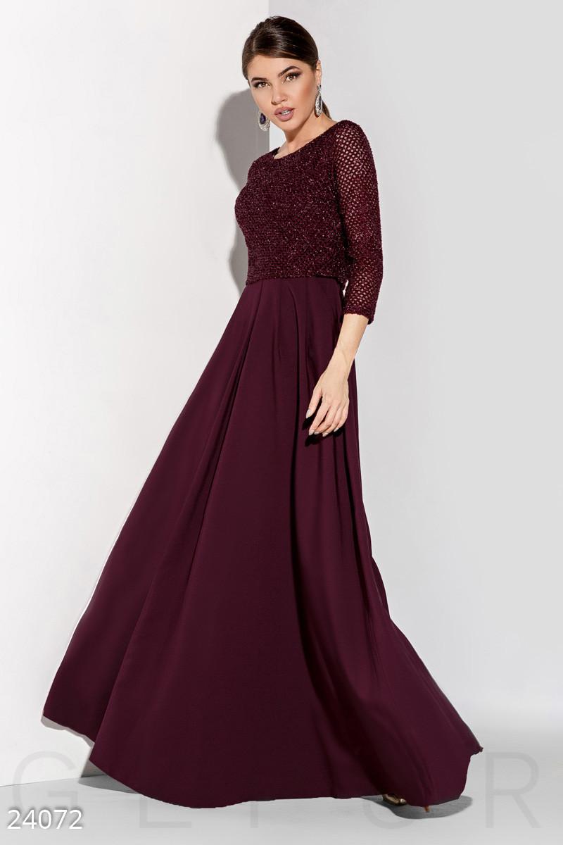 cd44e4dbb5f Длинное вечернее платье в пол с болеро цвета марсала - LeButon в Одессе