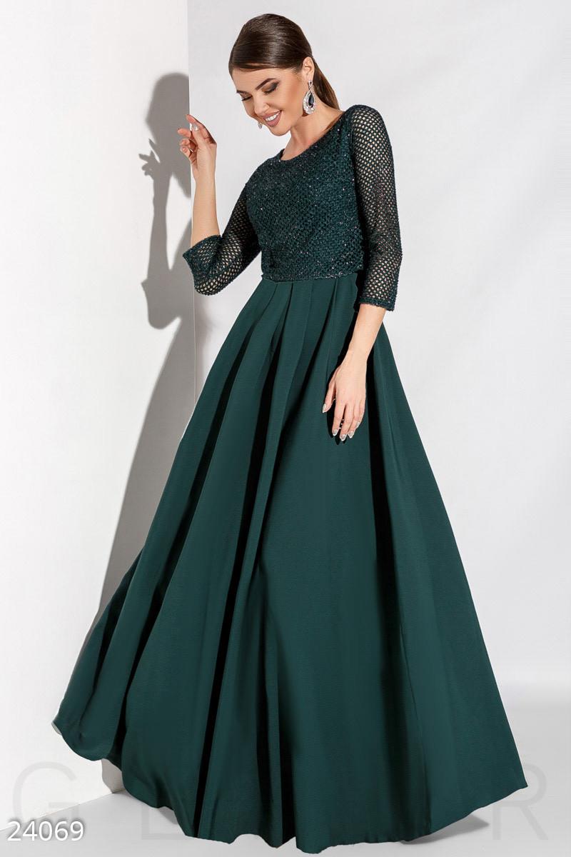 079d841d4d4 Длинное Вечернее Платье в Пол с Болеро Изумрудного Цвета — в ...