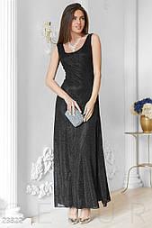 Приталенное вечернее платье люрекс длины в пол