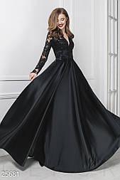 Неповторимое вечернее платье из черного атласа