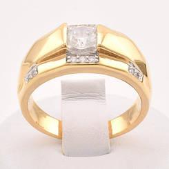 Кольцо, печатка Xuping Jewelry размер 19, медицинское золото, позолота 18К + родий. А/В 1218