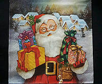 Яркая новогодняя салфетка, трехслойная, декупаж, 33х33 см, 8 гр.