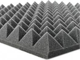 """Акустический поролон """"Пирамида"""". Черный Графит 40 мм"""