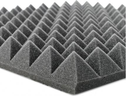 """Акустический поролон """"Пирамида"""". Черный Графит 100 мм"""