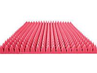 """Акустический поролон """"Пирамида средняя"""". Розовый 70 мм"""