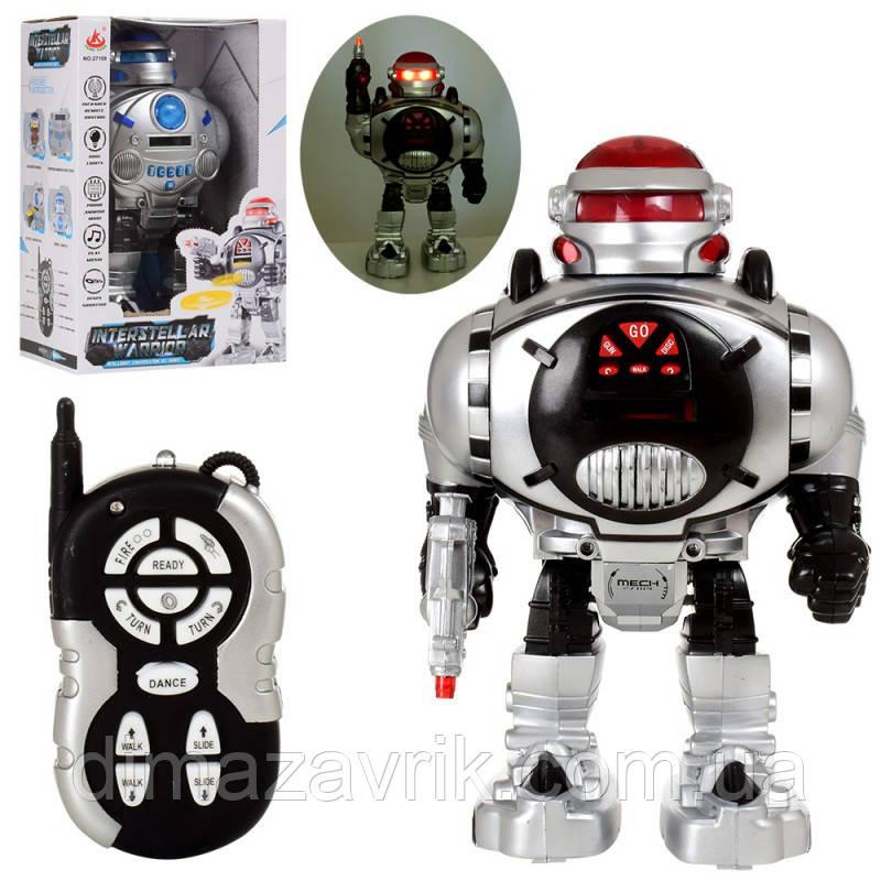 Робот 27109 р/у,30 см, стреляет дисками, звук, свет, ходит, ездит, 2 цвета, на батар, в коробке 21,5-33-16 см