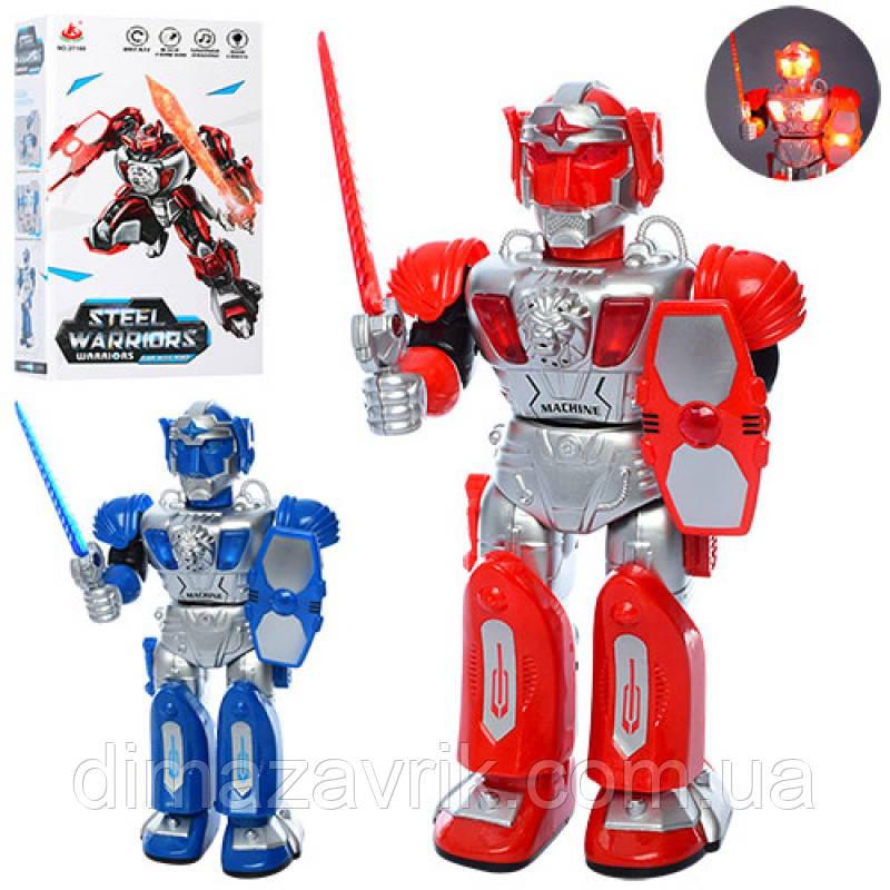 Робот 27160 31 см, ходит, звук, свет, туловище повор 360, 2 цвета, на бат-ке, в коробке18,5-33-10 см