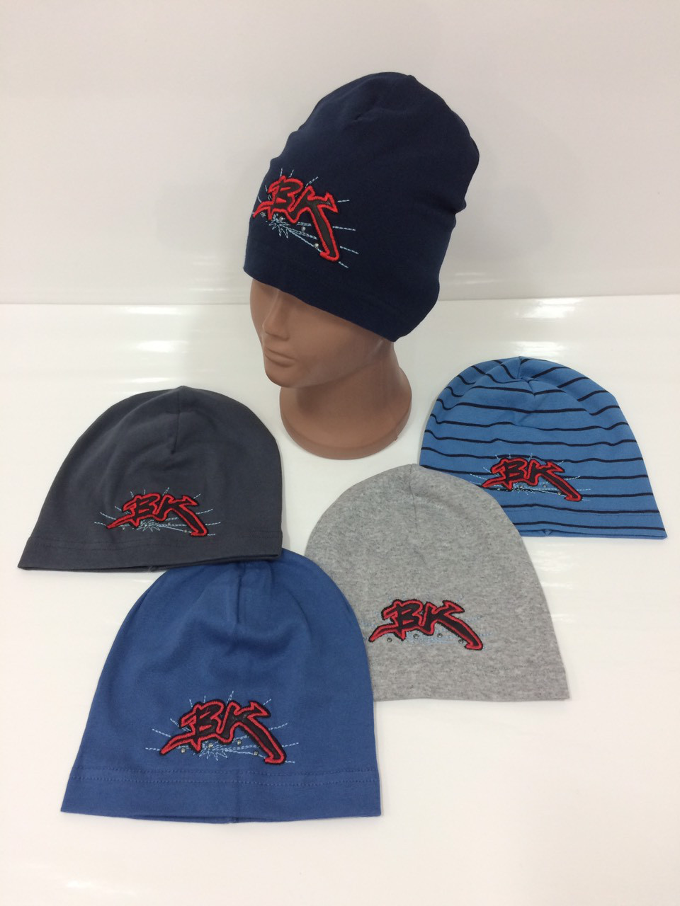 Детские демисезонные трикотажные шапки для мальчиков, р.46-48, Eg-Style (Польша)
