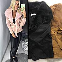 6e30e7dc13b28 Женская демисезонная куртка короткая с меховым воротником 42-44,44-46 (3