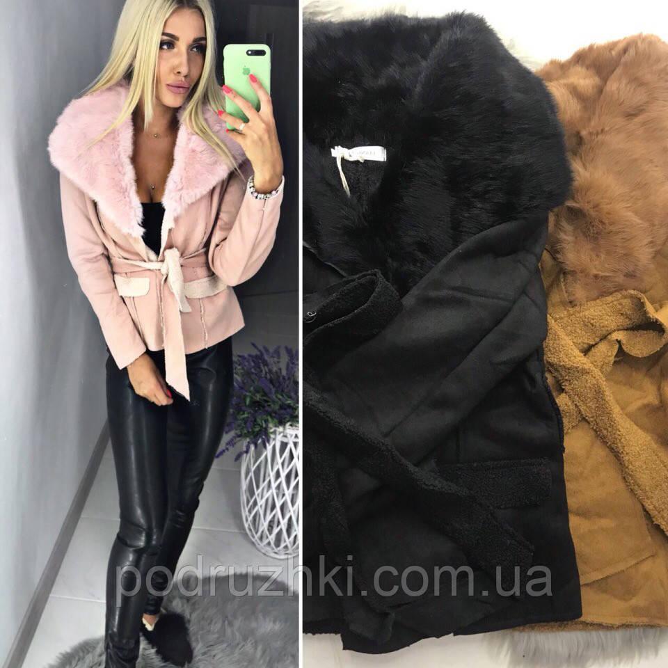 cd226ac892d Женская демисезонная куртка короткая с меховым воротником 42-44