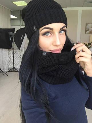 Женская вязаная черная шапка + снуд, фото 2