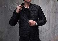 """Мужская стеганая куртка бомбер Jacket """" Progress """" полностью черная"""