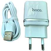 Сетевое зарядное устройство USB Hoco C12 Smart 2USB (2.4A) + micro Белый