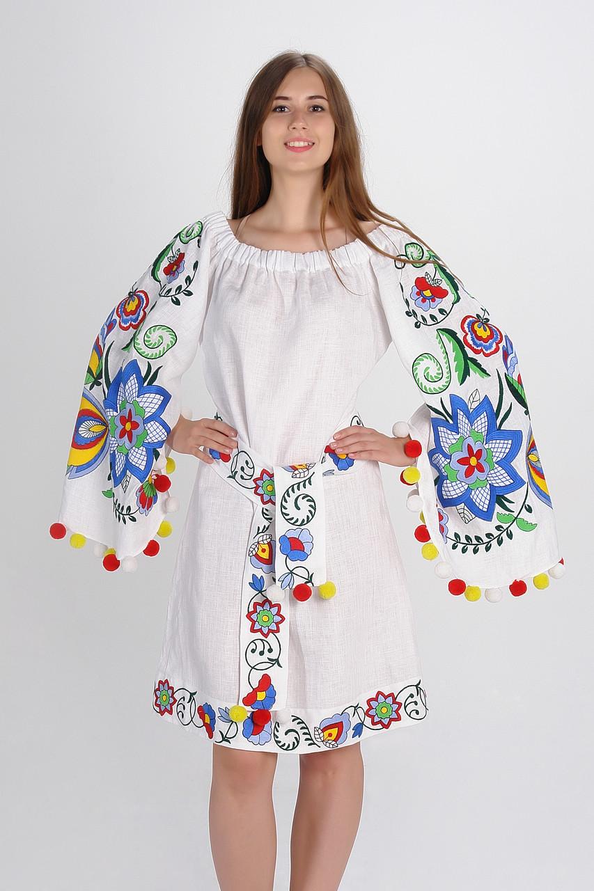 """Сукня """"Крила літа"""" міді, 100% льон, білий колір"""