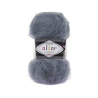 Alize Mohair classik - 87 угольно серый
