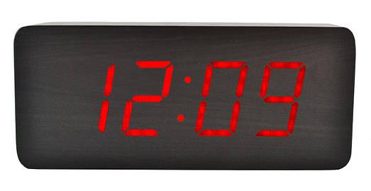 Часы VST 865 черное дерево (красная подсветка)