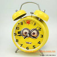 Часы мультяшные настольные, будильник с механическим звонком, Будильник для дома, серия миньоны