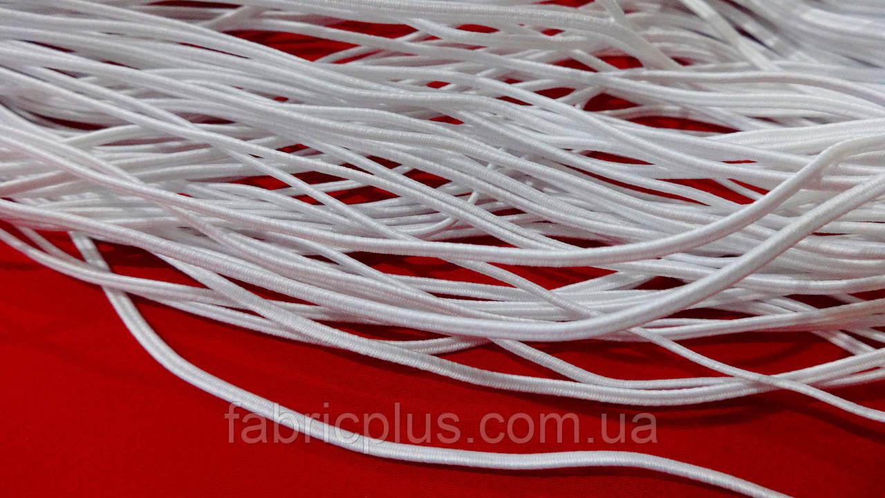 Гумка сутажна плоска 2,5 мм біла (2 жили)