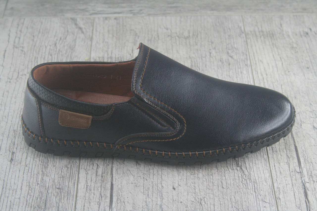 Туфли, мокасины без шнурков Holoso, обувь мужская осенняя, повседневная их эко кожи